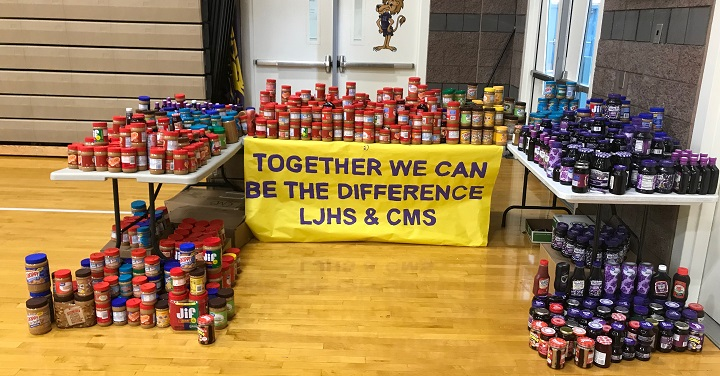 Lawrence JHS and Canarelli MS Donate 1,200 Jars of PB&J to